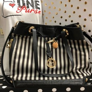 Henri Bendel Brown and Grey Striped Leather Tote